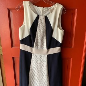 Navy Blue and White Semi-formal Dress